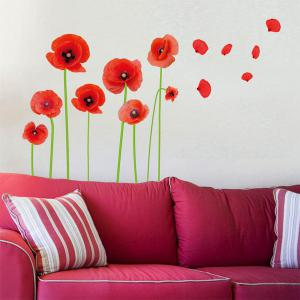 Florals Removeable Vinyl Wall Sticker - RED