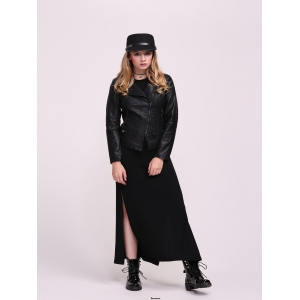 Faux Leather Fitted Biker Jacket -
