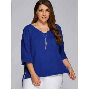 Flare Sleeves High Low Hem V Neck Sweater - BLUE 5XL