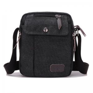 Casual Canvas Corssbody Bag - Black