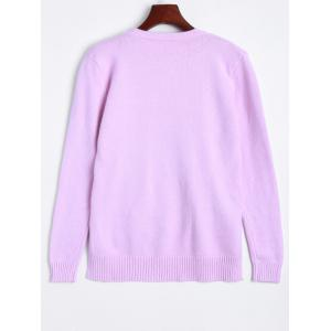 Ribbed High Low Knitted Sweater - LIGHT PURPLE ONE SIZE