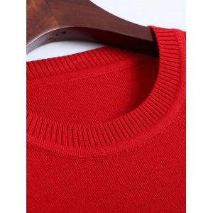 Longline  Fitted Knitted Pullover Sweater - RED ONE SIZE