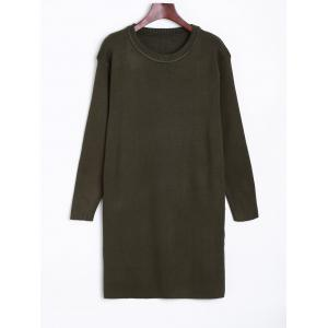 Longline  Fitted Knitted Pullover Sweater - Army Green - One Size