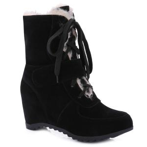 Fur-Trimmed Lace Up Mid Calf Boos