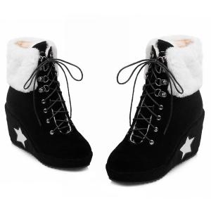 Lace Up Wedge Heel Ankle Boots - BLACK 39