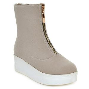 Faux Fur Lined Platform Ankle Boots - Off-white - 39