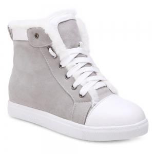 Low Heel Lace Up Ankle Boots - Gray - 38