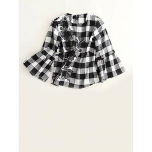 Embroidered Plaid Bell Sleeve Blouse - White And Black - S