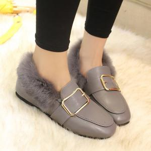 Faux Fur Buckle Flat Shoes - GRAY 39