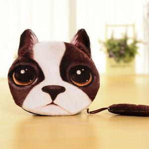 Zipper Dog Pattern Colour Block Coin Purse - White And Brown - S