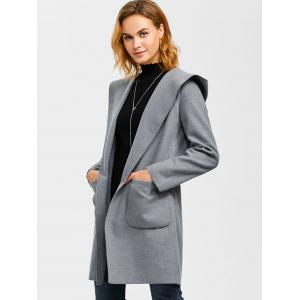 Slim Double Pockets Hooded Wrap Coat -