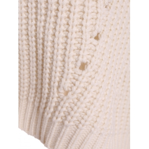 Round Neck High Low Pullover Knitwear - WHITE ONE SIZE