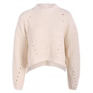 Round Neck High Low Pullover Knitwear - White - One Size