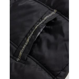 Hooded Embroidered Plus Size Thicken Flocking Zip Up Down Coat -