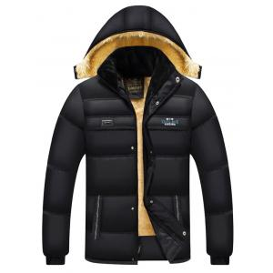Hooded Embroidered Design Plus Size Flocking Zip Up Down Coat