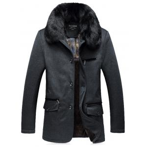 Faux Fur Collar Thicken Single Breasted Flocking Quilted Jacket