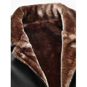 Faux Fur Collar Plus Size Single Breasted Flocking PU Leather Jacket -