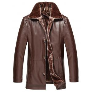 Faux Fur Collar Plus Size Single Breasted Flocking PU Leather Jacket - Deep Brown - M
