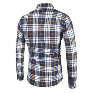 Tartan Print Turndown Collar Flocking Shirt -