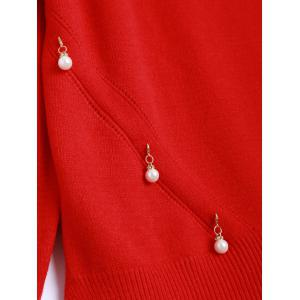 Faux Pearl Detailed Pullover Sweater - RED ONE SIZE