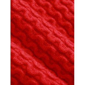 Crew Neck Wave Patter Knitted Sweater - RED ONE SIZE