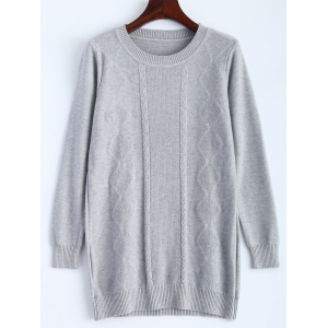 Arygle Pattern Knitted Sweater - Gray - One Size