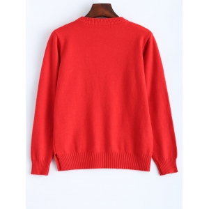 Vintage Fitted Short Sweater - RED ONE SIZE