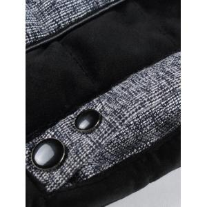 Pocket Stand Collar Texture Insert Padded Jacket -