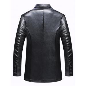Pocket One Button Faux Leather Jacket - BLACK 3XL