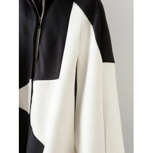 Pentagram Print Cashmere Cape Coat - WHITE L
