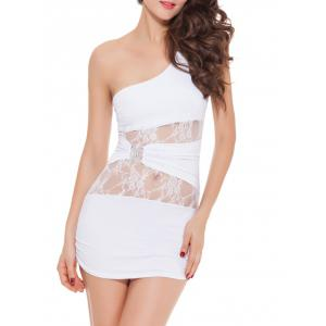 One Shoulder Lace Panel Short Bodycon Dress -