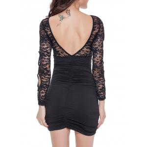 Lace Spliced Backless Bodycon Mini Dress - BLACK ONE SIZE