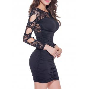 Lace Spliced Backless Bodycon Mini Dress -
