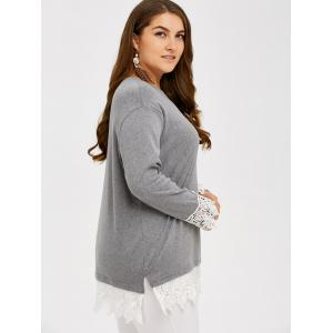 Lace Splicing Plus Size T-Shirt - GRAY 5XL
