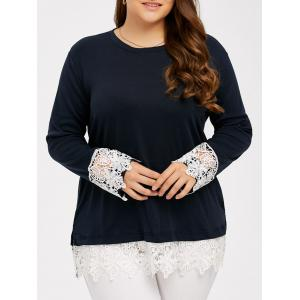 Lace Splicing Plus Size T-Shirt