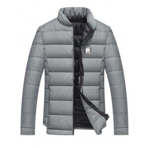 Applique Stand Collar Zip Up Cotton Padded Jacket