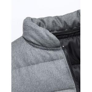 Applique Stand Collar Zip Up Cotton Padded Jacket -