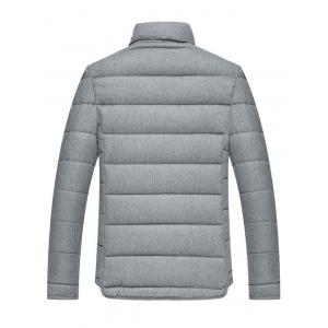 Applique Stand Collar Zip Up Cotton Padded Jacket - GRAY M