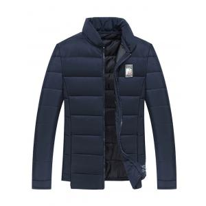 Applique Stand Collar Zip Up Cotton Padded Jacket - Cadetblue - M