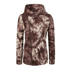 Oblique Zipper Tie Dye Hoodie - Brown - S