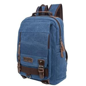 Zippers Double Buckle Colour Spliced Backpack -
