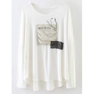 Patched Long Sleeve Relaxed Tee
