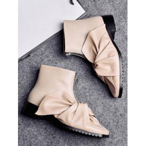 Zipper Bow Pointed Toe Ankle Boots -