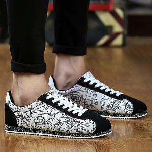 Letter Pattern Tie Up Casual Shoes - White And Black - 44