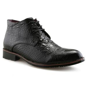 Tie Up PU Leather Embossed Boots