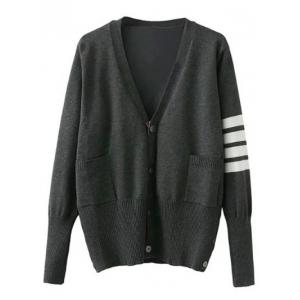 Single Breasted Striped Sleeve Cardigan