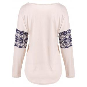 Milu Deer Print Long Sleeve T-Shirt - PINK XL