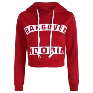 Active Hangover Pattern Cropped Hoodie - Red - L