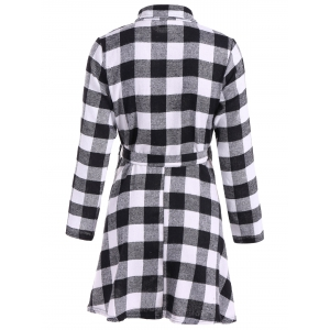 Flannel Check Belted Shirt Dress -