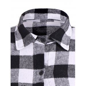 Flannel Check Belted Shirt Dress - WHITE/BLACK XL
